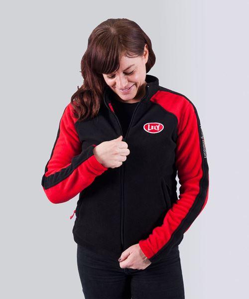 Image sur Veste polaire pour femmes, noire et rouge